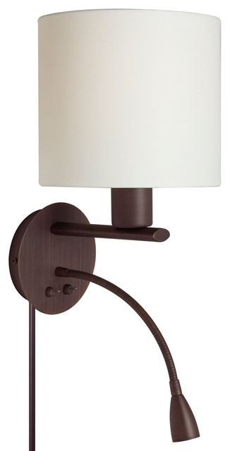 dainolite dled410 w obb wall sconce with gooseneck led reading lamp finish contemporary - Bedroom Wall Sconces For Reading