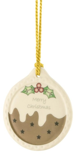 Belleek Plum Pudding Ornament - Contemporary - Christmas Ornaments - by Tableware Gallery
