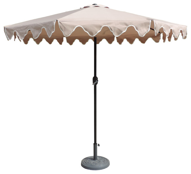 Designer Patio Market Scalloped Umbrella Tan 9