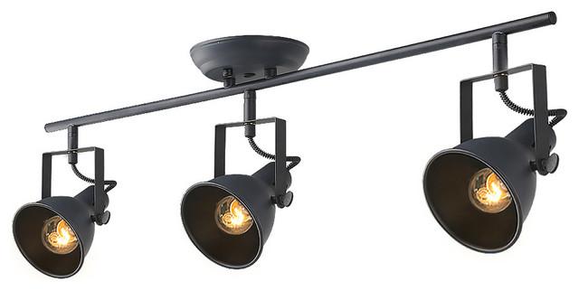 LNC Adjustable Ceiling Lights, 3 Light Track Ceiling Lamp, Black Finish  Industrial