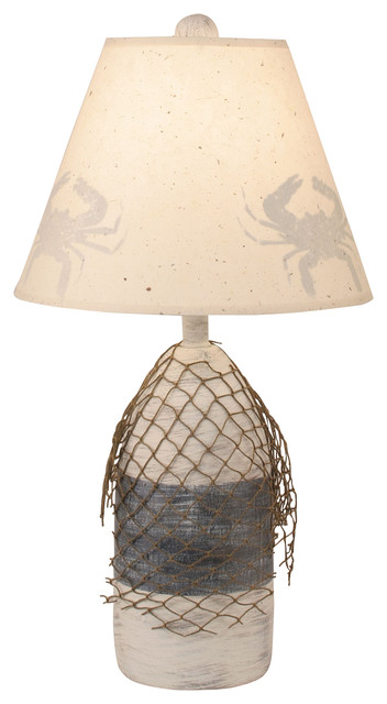 Cottage Navy Small Bouy With Net Accent Lamp Crab Shade