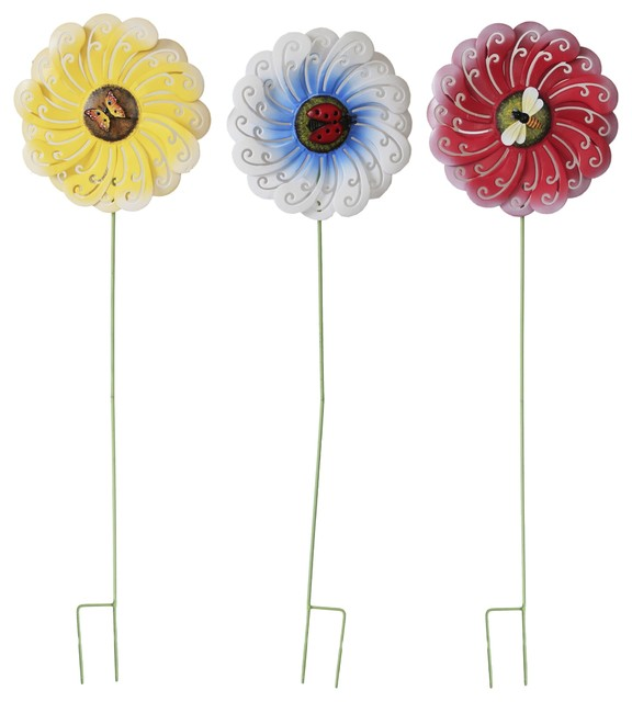 Garden Flower Stake, Set of 3 - Traditional - Garden Statues And Yard Art - by Attraction Design LLC