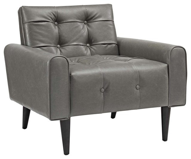 Delve Faux Leather Accent Chair, Gray by LexMod