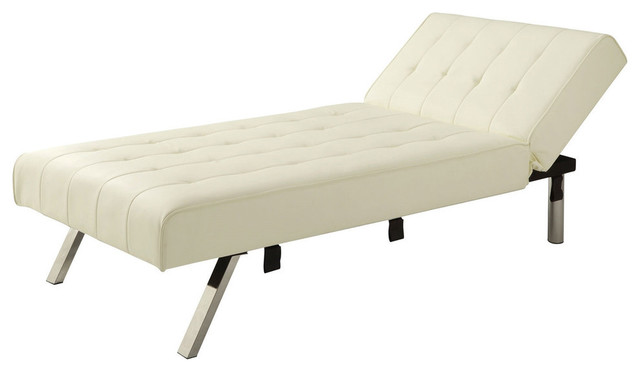 Vanilla Chaise Lounge Sleeper Bed With Contemporary Chrome Legs Indoor