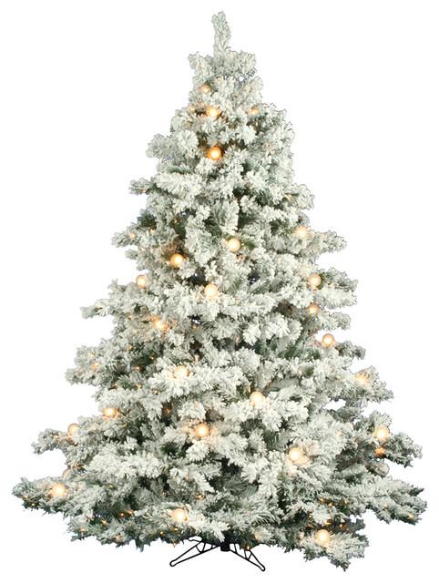 Flocked Alaskan Pine Tree, Dura-Lit and G50 Lights, 7.5', Clear Lights