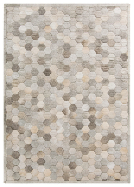 Palika Global Bazaar Honeycomb Beige Gray Cowhide Rug