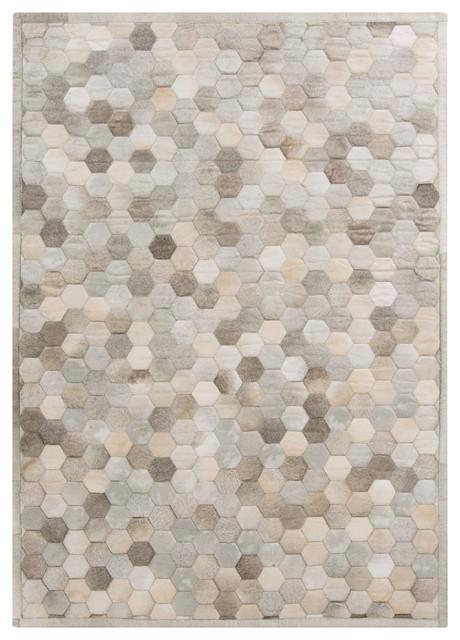 palika global bazaar honeycomb beige gray cowhide rug, 2x3 Beige Rug