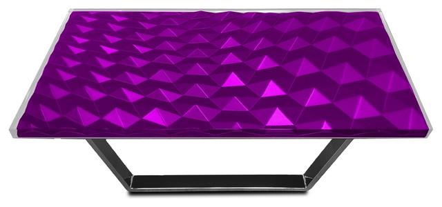 Modern Triangles Coffee Table, Epoxy Resin & Wood, Purple