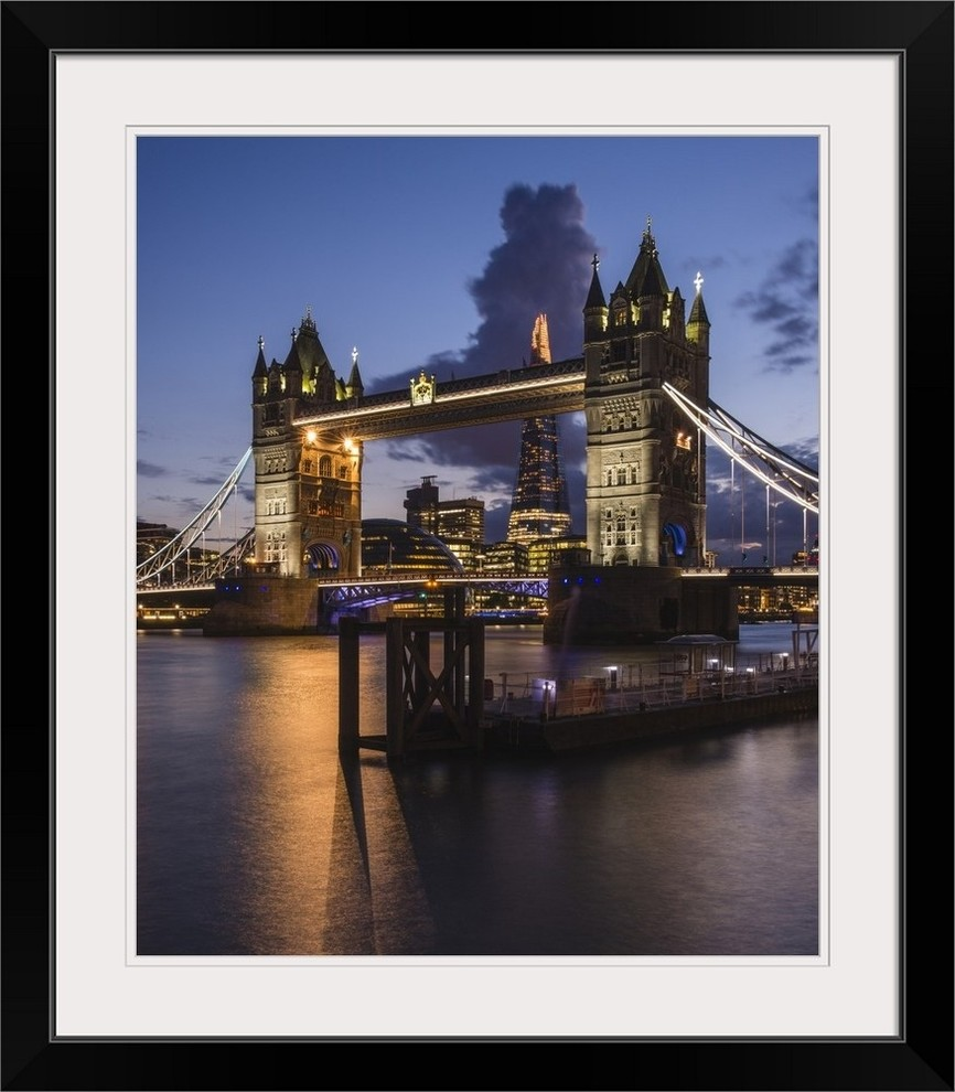 Tower Bridge The Shard River Thames At Dusk London England Uk Black Fr Contemporary Prints And Posters By Great Big Canvas