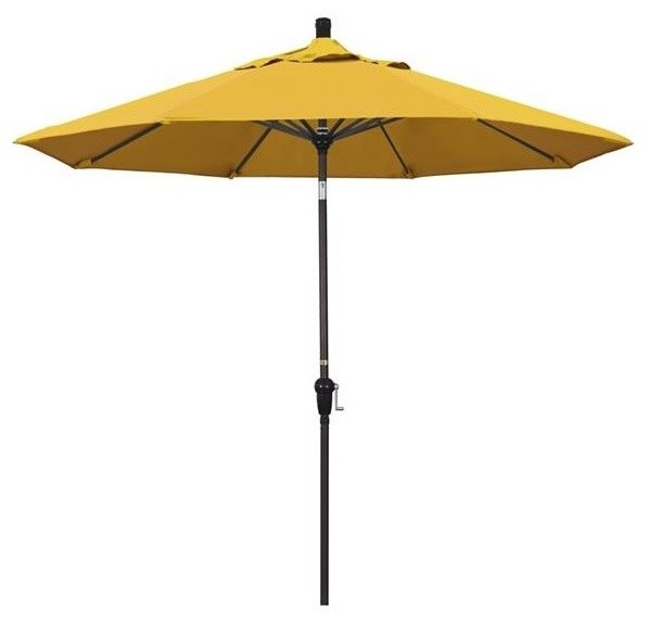California Umbrella Sunset Series Bronze Patio Umbrella, Yellow, 9u0027x8 Ribs