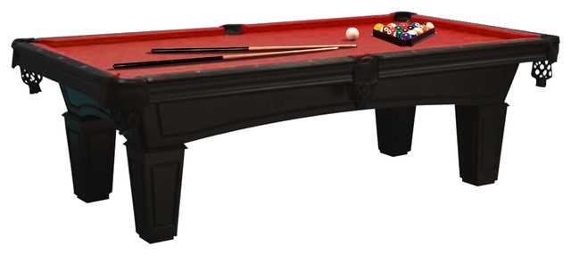 Imperial Shadow Black 8u0027 Pool Table, Red Cloth, With Accessory Bundle  Transitional