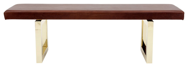 5' Burgundy Leather Bench