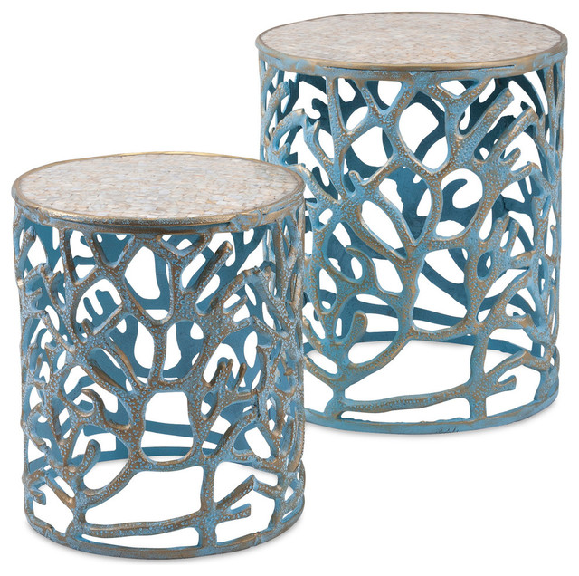 Coral Mother Of Pearl Tables, Set Of 2 Beach Style Side Tables