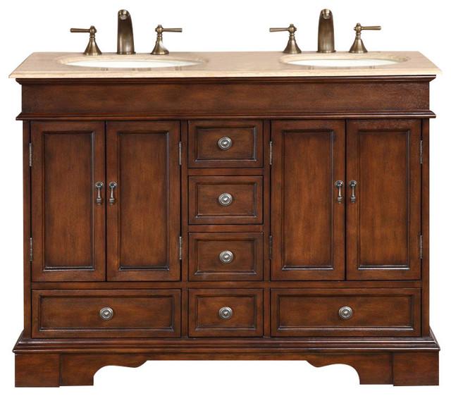 Boone Double Bathroom Vanity, Travertine Top, 48.