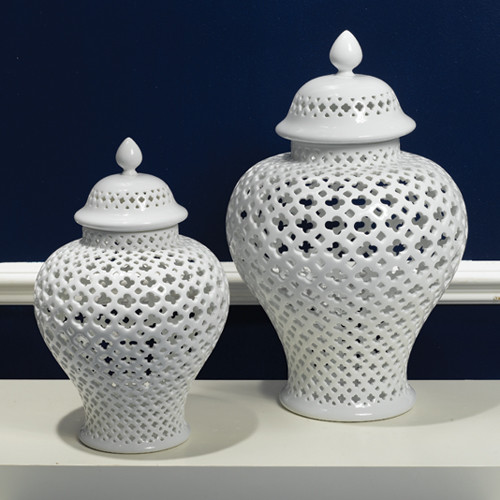Carthage Pierced Covered Lantern Large by Two's Company®