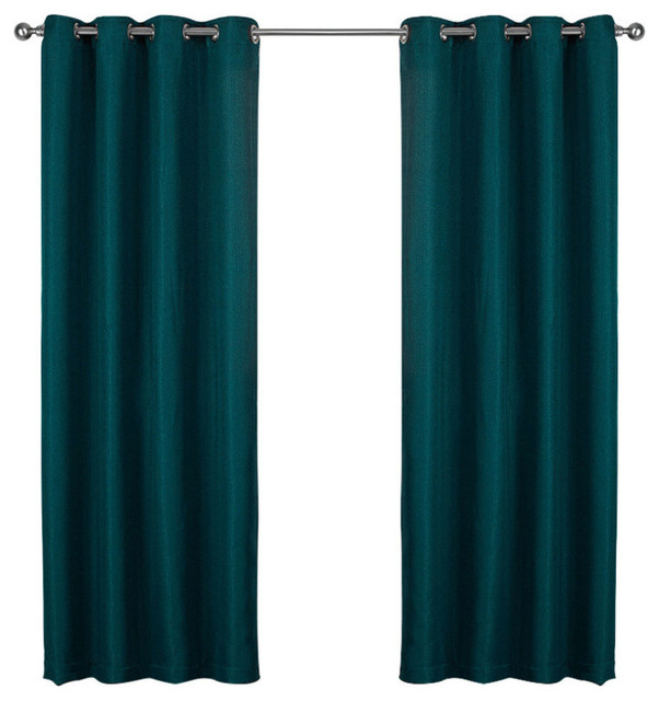 "Eglinton Woven Grommet Top Curtains, 52""x84"", Teal, Set Of 2."