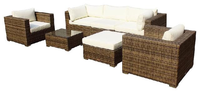 Outdoor Patio Furniture Wicker Sofa Sectional 7 Piece Set