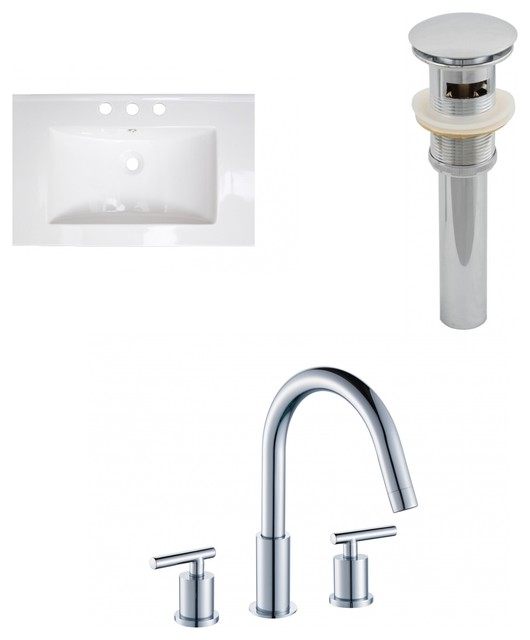 "Roxy 23.75""x18.25"" Ceramic Top Set White, Drain Included, Faucet Ai-7911."