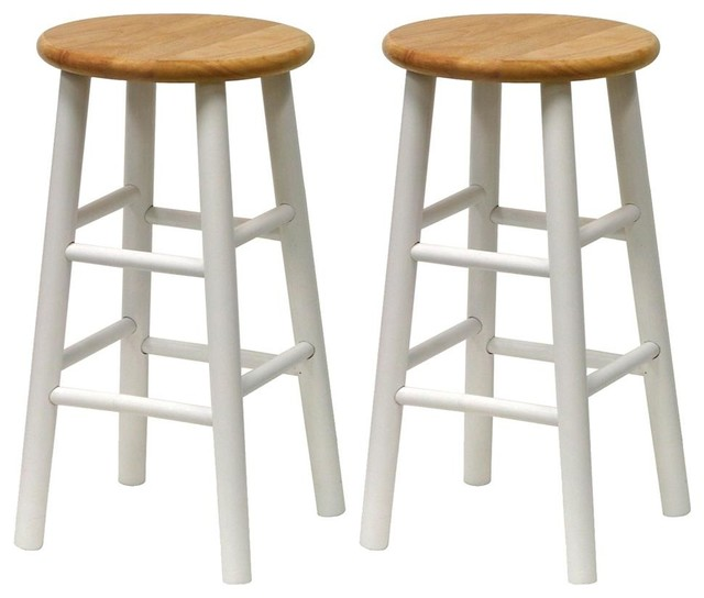 Beech and White Kitchen Stools, Set of 2
