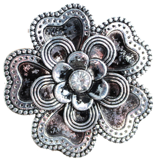 Flower Drawer Knobs With Petals And Crystal Center - Traditional - Cabinet And Drawer Knobs - by ...
