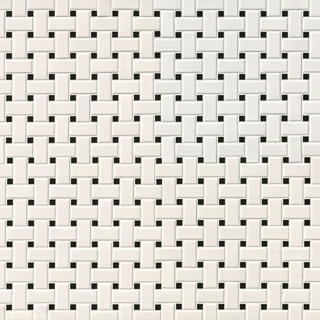Domino White And Black Matte Basket Weave Mosaic, Sample.