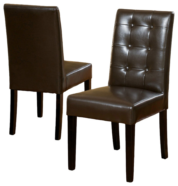 Tufted leather dining room chairs for Brown leather dining room chairs