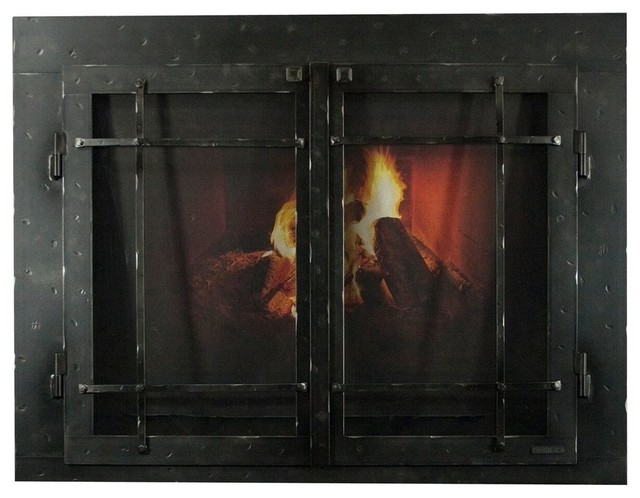 "Iron Fireplace Glass Door With Gate Mesh, 4"" Frame In Natural Finish, 41""x27""."