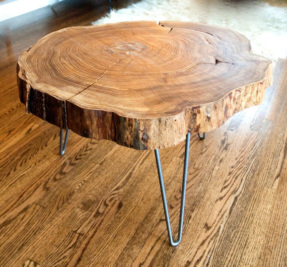 Natural Live-Edge Round Slab Side Table/Coffee Table by Norsk Valley Workshop
