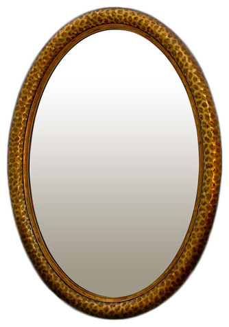 Forge Oval Mirror Contemporary Bathroom Mirrors By