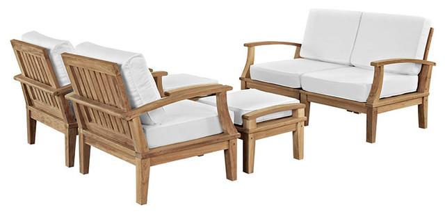 Marina 6-Piece Outdoor Patio Teak Sofa Set, Natural White.