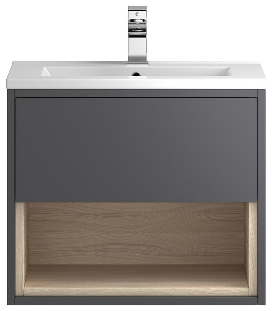 Laguna Wall-Mounted Vanity Unit and Sink, Gloss Grey and Driftwood, 60 Cm