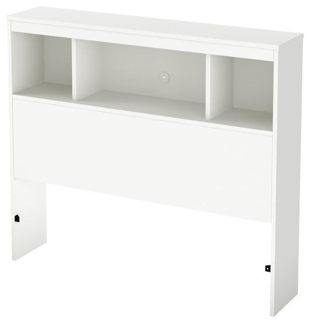 South Shore Litchi Twin Bookcase Headboard, 39&x27;&x27;, Pure White.