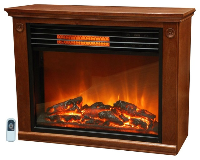 This Infrared Electric Fireplace Space Heater 1500-watt Medium Oak Finish can be installed anywhere since no venting is required. Imagine the warmth and beauty