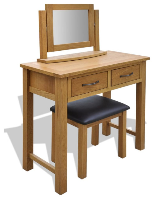 WOODEN CARVED JEWELLERY DRESSING WITH 2 DRAWERS AND MIRRORED TOP MODEL 1