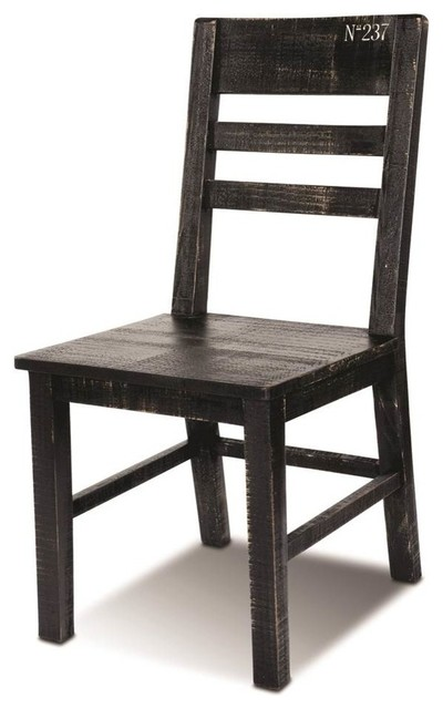 Dining Chair In Distressed Black And White Finish Set Of 2