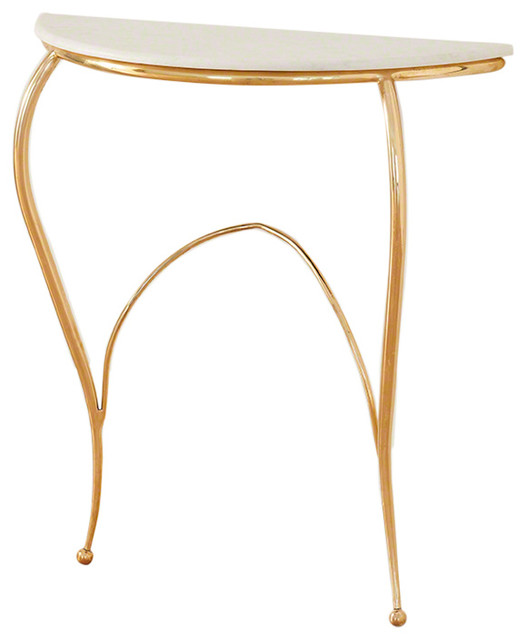 Elegant Gold Minimalist Console Table, Curved Marble Top Entry Transitional  Console Tables