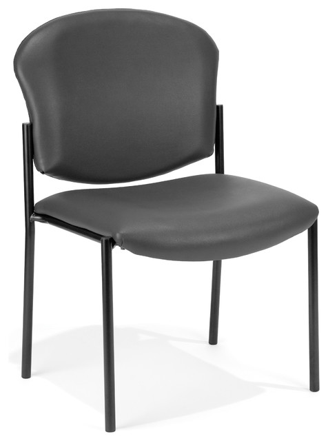 Deluxe Vinyl Armless Stacking Chair, Charcoal.