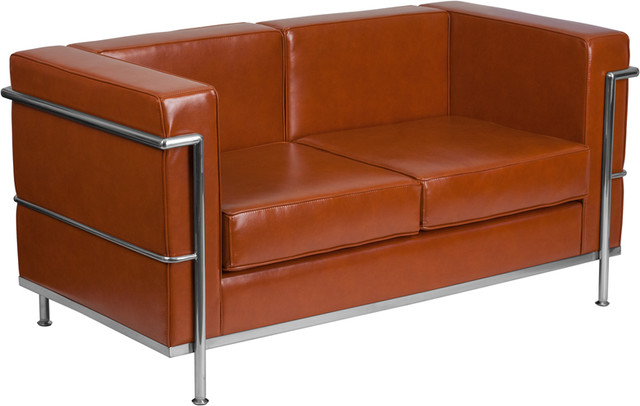 Fabulous Modern Contemporary Cognac Leather Loveseat With Encasing Frame Gmtry Best Dining Table And Chair Ideas Images Gmtryco