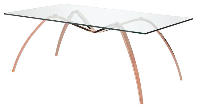 """Sereno Glass Dining Table, Rectangular Contemporary Dining Table Rose Gold, 78"""""""