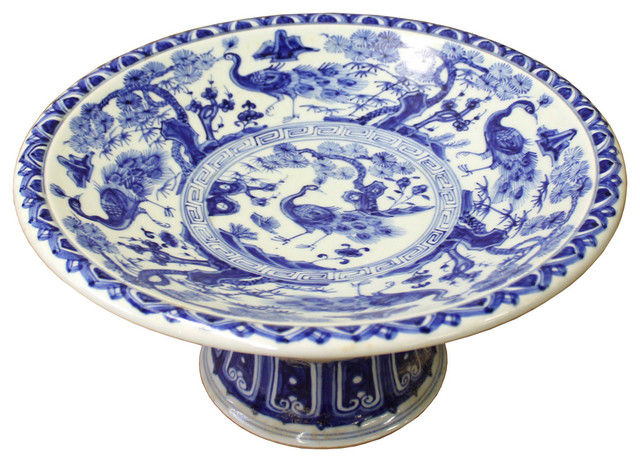 Blue And White Plates consigned, chinese blue white round porcelain offer display plate