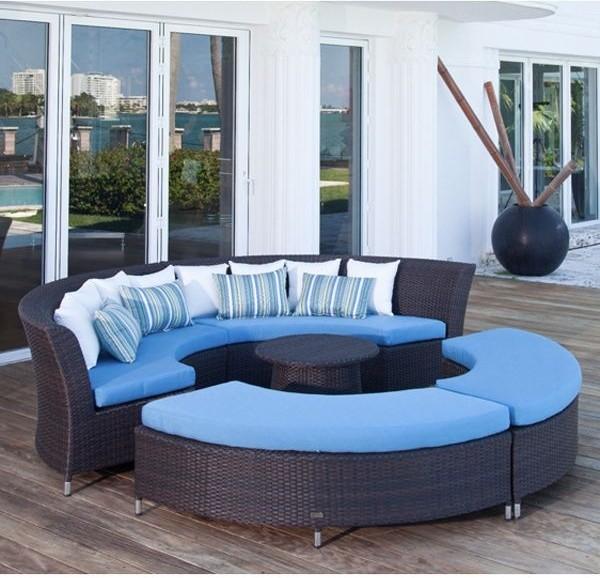 Coastal Circular Outdoor Sectional Sofa