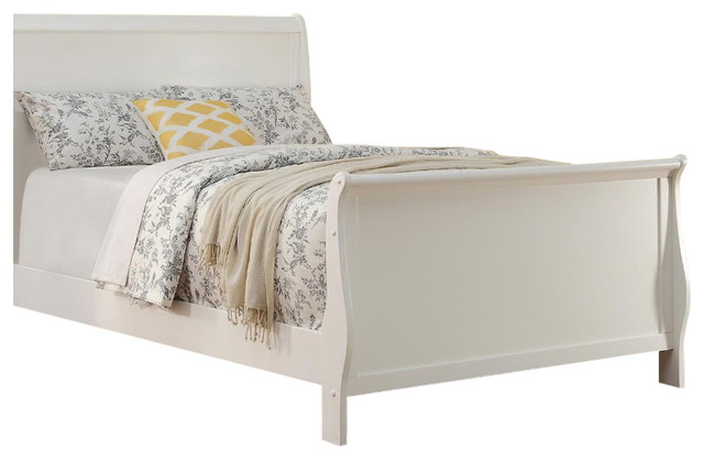 Wooden Twin Bed, White.