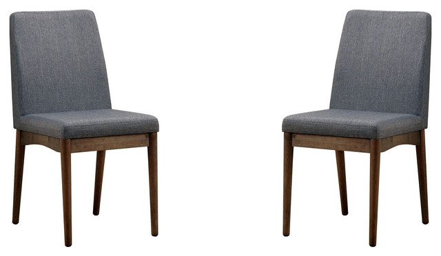Beau Midcentury Modern Fabric Upholstered Dining Side Chairs, Set Of 2