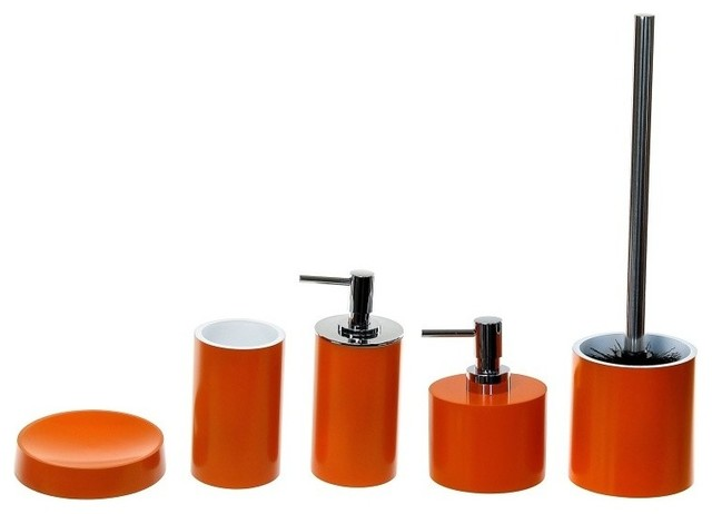 Orange 5 Piece Bathroom Accessory Set Contemporary Bathroom Accessory Sets By Thebathoutlet