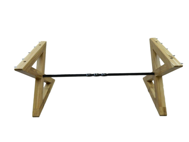 X Joint Kitchen Table Legs and Twisted Steel Bar, Oak
