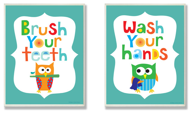 Stupell Industries Brush Your Teeth u0026 Wash Your Hands Boyu0026#39;s Duo - Kids Wall Decor : Houzz