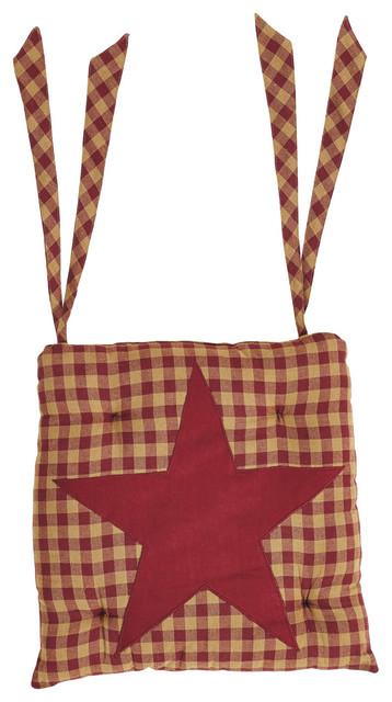 Burgundy star chair pad farmhouse seat cushions by vhc brands