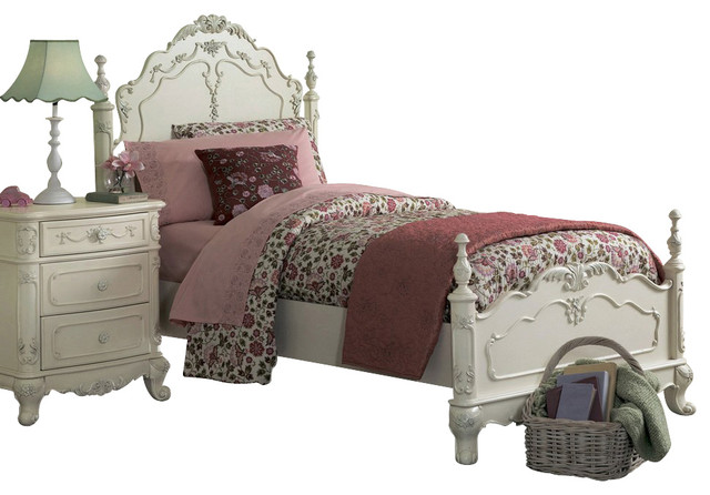 Homelegance Cinderella 6 Piece Kidsu0027 Poster Bedroom Set In White  Traditional Kids