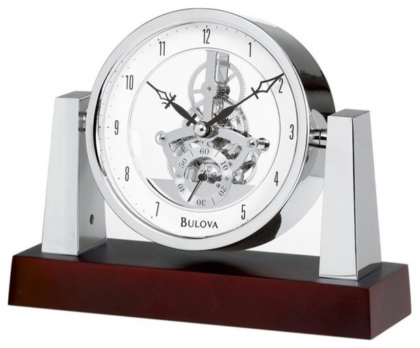 Largo Table Clock With Skeleton Movement Model - Contemporary - Desk And Mantel Clocks - by Bulova