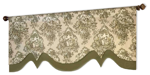 Olive Green French Country Toile Double Layered Chintz Valance.